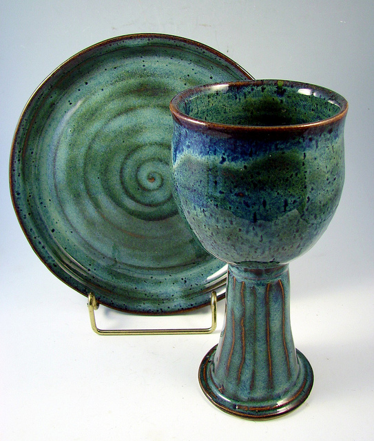 Ceramic green clay chalice cup plate