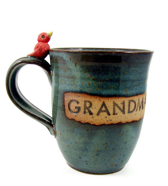 Ceramic clay grandma cup bird mug
