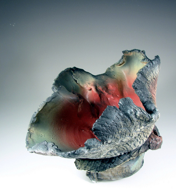 Fine clay red blue shell sculpture